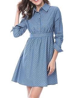 77d06e255c Allegra K Women s Polka Dot Button up Front Long Sleeves Chambray A-line  Dress