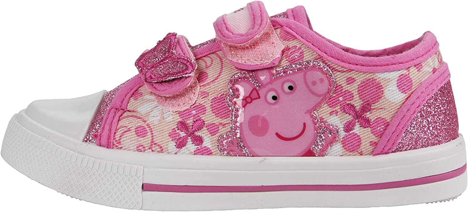 Character Kids Girls Lo Infants Canvas Shoes Low Trainers Hook and Loop Close