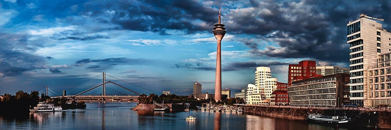 Artland Qualitätsbilder I Bild auf Leinwand Leinwandbilder Wandbilder 120 x 40 cm Städte Deutschland Düsseldorf Foto Blau A8NX Düsseldorf Medienhafen Panorama 02