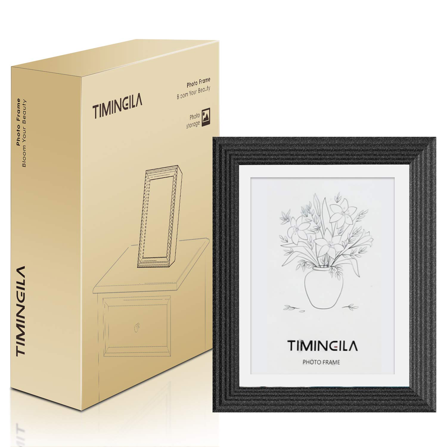 Black TIMINGILA Picture Frame 4x6 with Mat and 5x7 Without Mat Photo Frame Resin-Natural Gravel Suitable for Storing Pictures,Display and Spotlight Fondest Memories 1Pack