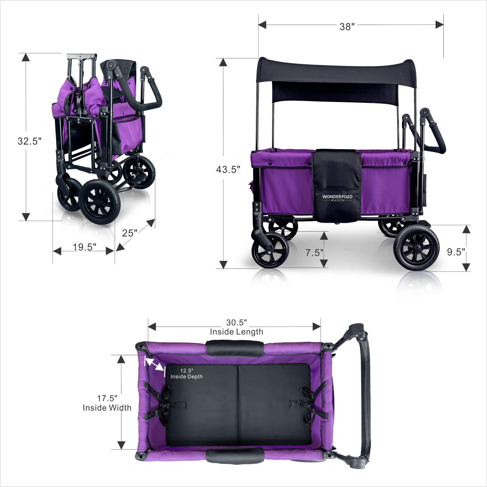 WonderFold Multi-Function 2 Passenger Push Folding Stroller Wagon, Adjustable & Removable Canopy, Double Seats with 5-Point Harness (Cobalt Violet) by WonderFold (Image #2)