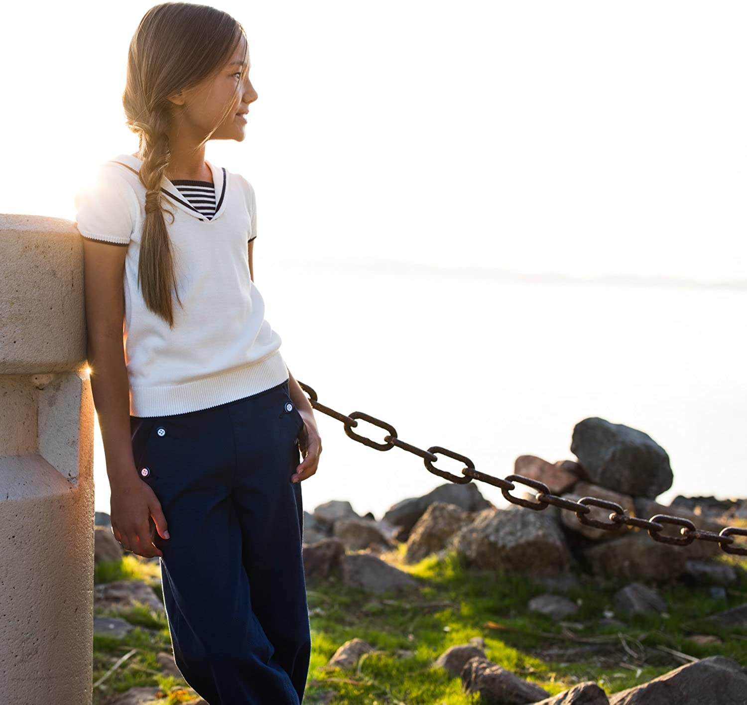 Hope and Henry Girls Navy Pique Sailor Pants