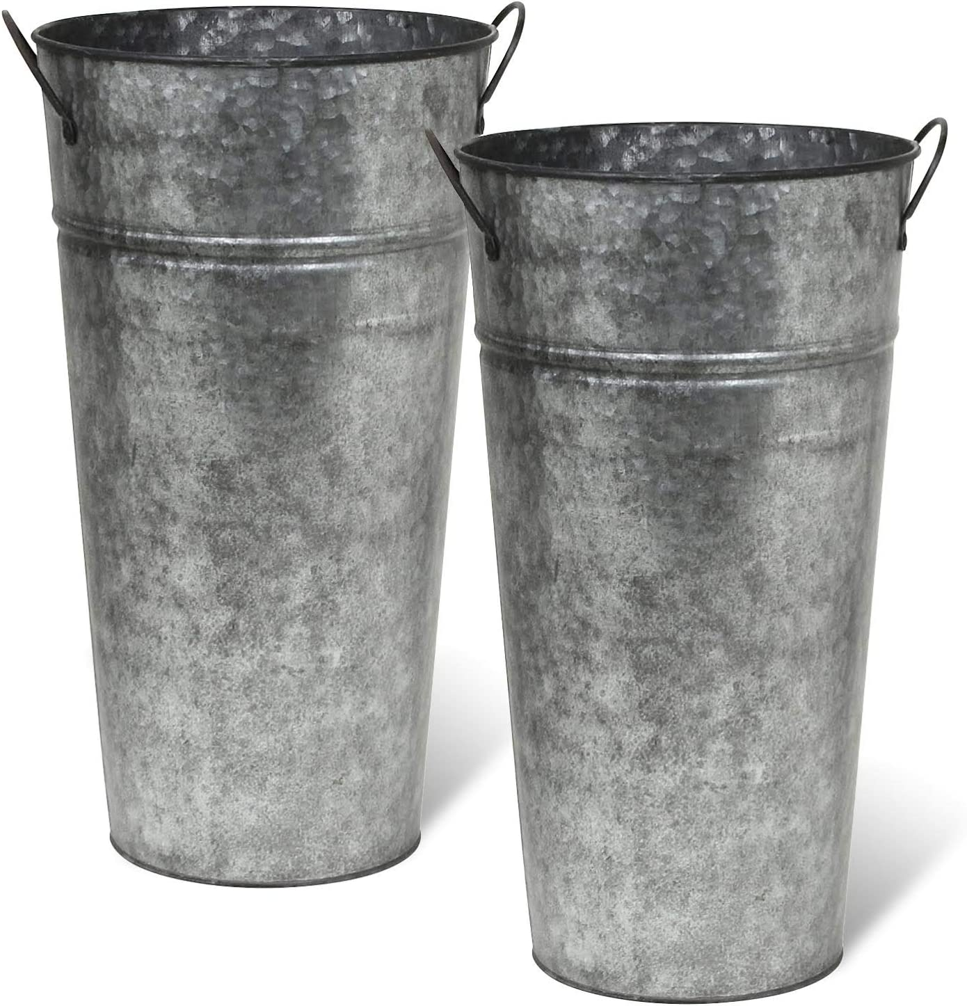 Rustic Metal 13 Inch Galvanized Flower Vase – Set of 2 – French Bucket – Farmhouse Style – Perfect for Fresh and Dried Floral Arrangements for Home and Weddings Pewter Gray