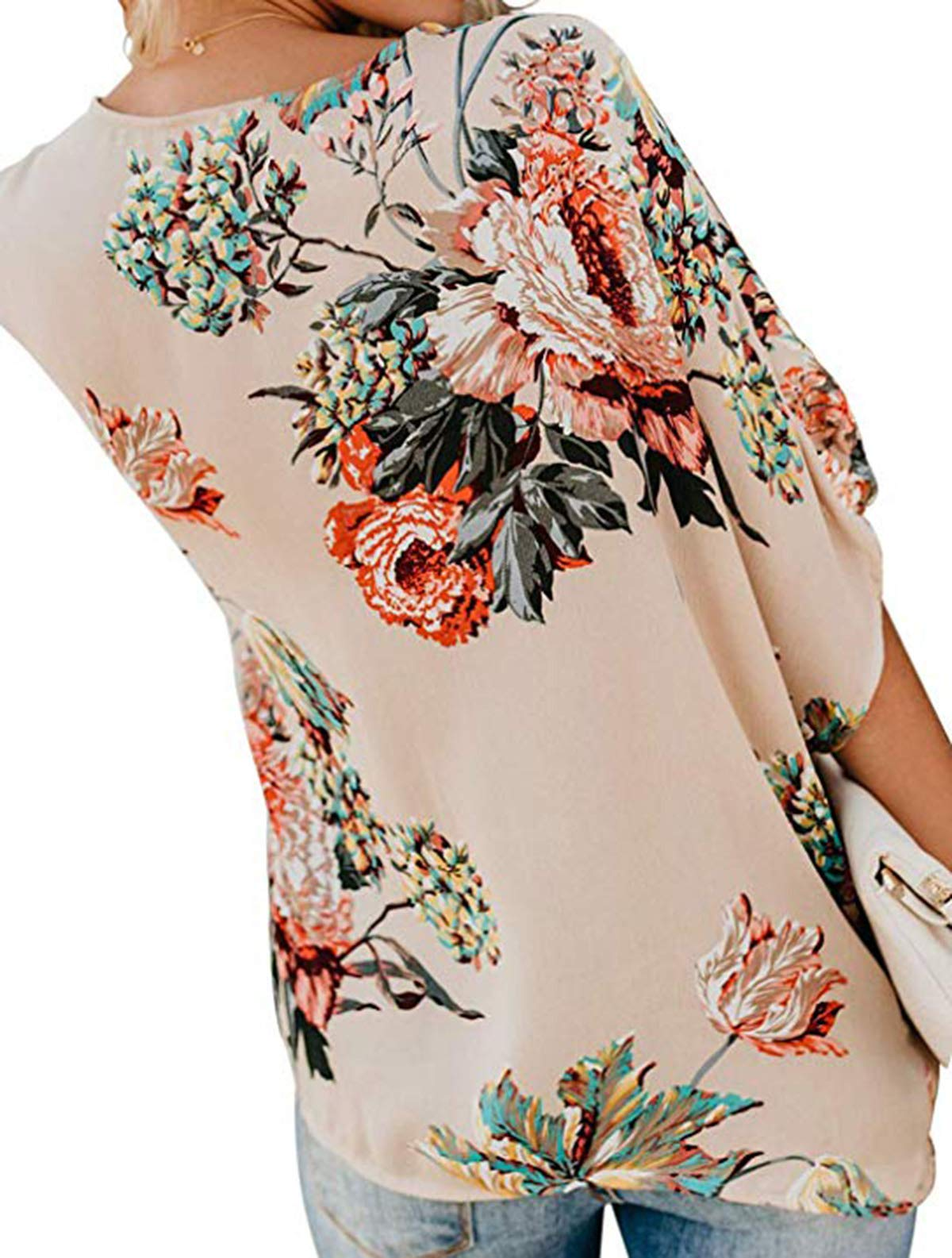 Horyliin Floral Tops for Women 3/4 Sleeve, Juniors Deep V Neck Fashion 2019 Work Blouses Tie Dye Pleated Front Knotted Tunic Shirts Apricot XL