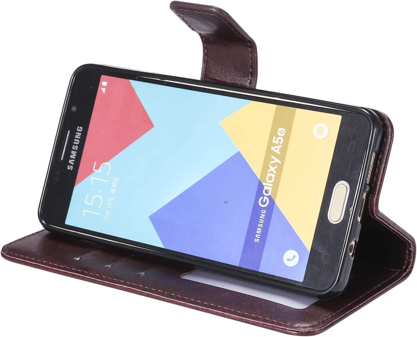 Shockproof Leather Flip Cover Case for Samsung Galaxy A3 2016 NEXCURIO Wallet Case for Galaxy A3 NEHHA130087 Brown with Card Holder Side Pocket Kickstand 2016