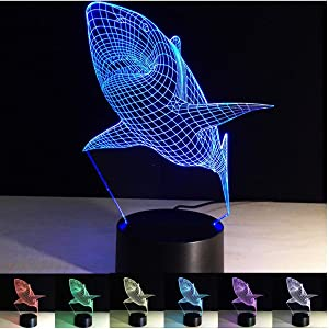 3D Optical Illusion LED Lamp,Ocean Shark Night Light 3D Kids Bedside Lamp 7 Colors Touch Control & USB or Battery Powered for Children Xmas Birthday Gift