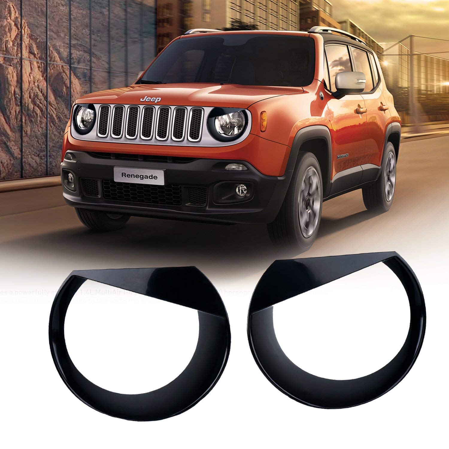 Yoursme Tail Light Cover Lamp Guard Rear Taillight Trim Cover Protector for 2015 2016 Jeep Renegade Set of 4 (BLACK) 4333250318