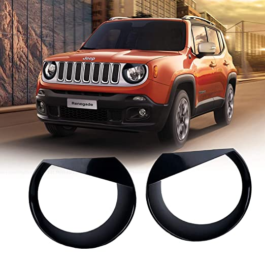 Yoursme Front Light Bezel Upgrade Clip-in Version Black ABS Angry Bird Style Headlight Lamp Covers Trim Fit for Jeep Renegade 2015 2016 2017 2018