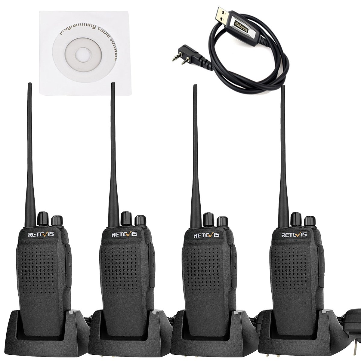 Retevis RT26 Two Way Radio 10W UHF 400-470MHz 3000mAh High Power VOX Scan FM Walkie Talkies(5 Pack) and Programming Cable