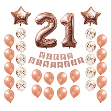 21st Birthday Rose Gold Balloon Set