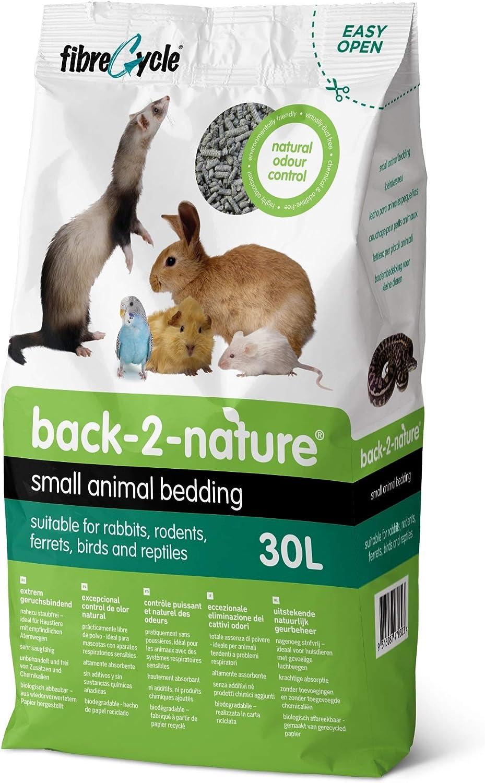 FibreCycle Lecho Papel Higienico Ecologico – Pellets Para Cobayas Conejos Hurones Reptiles Pájaros 30000 ml