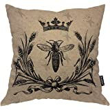 Moslion Throw Pillow Cover Bee 18x18 Inch Vintage Queen Bees Retro Crown Floral Ear Bowknot Black Square Pillow Case…