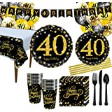 40th Birthday Party Decorations Kit - 166Pcs Big 40th Birthday Party Supplies,40th Birthday Table Decorations Plates & Napkin