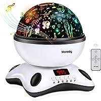 Moredig - Musique Projecteur Lampe Enfant, Led Veilleuse Projecteur 360° Rotation avec Minuterie, 8 Différents Couleurs Mode pour les bébés, Cadeau d'anniversaire, Noël - Noir et blanc