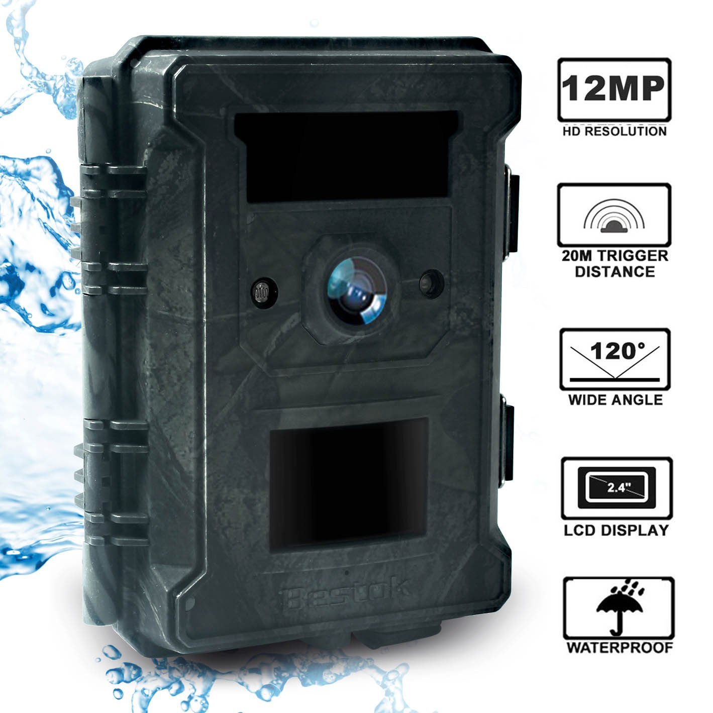 Bestok Trial Camera 12MP 120° HD Wildlife Hunting Cam with Infrared LEDs Night Vision 65 ft/20m 2.4'' LCD Waterproof IP65 Game Camera for Wildlife & Home Security
