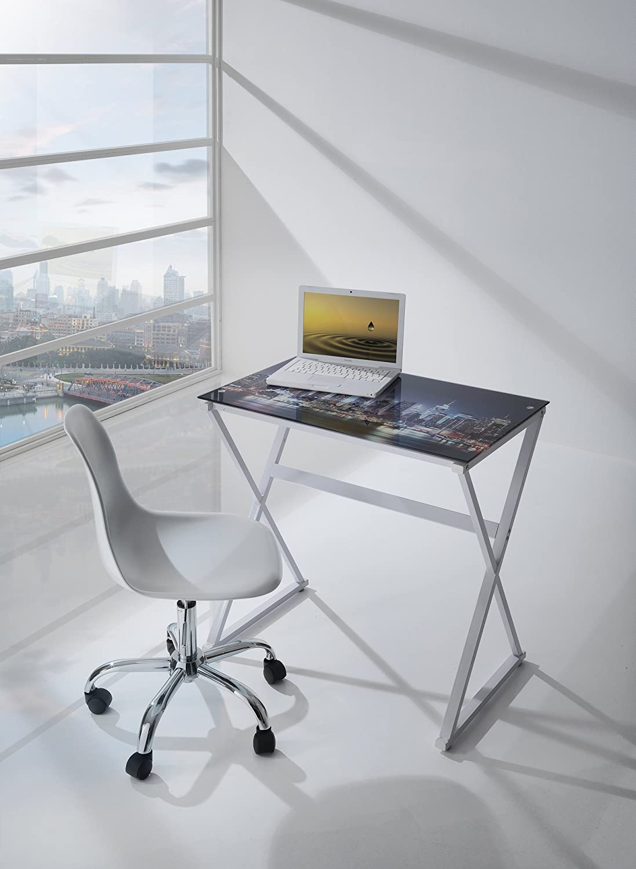 Escritorio Computer Desk Horizonte L. 80 cm Llano Cristal Templado ...