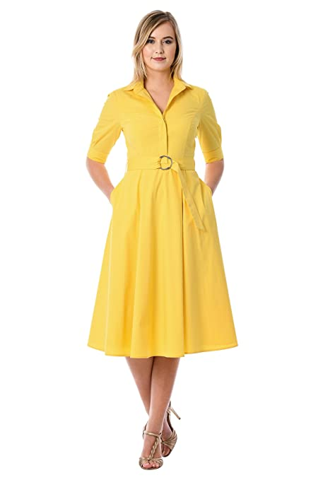1960s Dresses – A Rainbow of 50 Dresses (Pictures) eShakti Womens Belted Poplin Midi shirtdress $67.95 AT vintagedancer.com