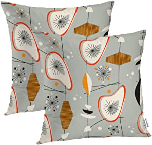 Batmerry Vintage Modern Decorative Pillow Covers, 16 x 16 Inch Retro Vintage Pattern 1950s Modern Century Mid Shape Double Sided Throw Pillow Covers Sofa Cushion Cover Square 16 Inches(Set of 2)