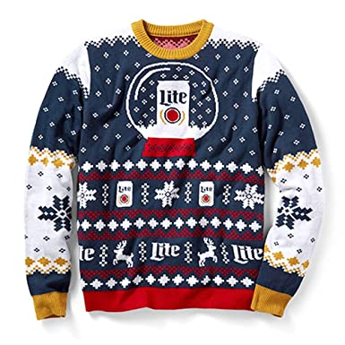 Amazoncom Miller Lite Holiday Christmas Party Sweater Clothing