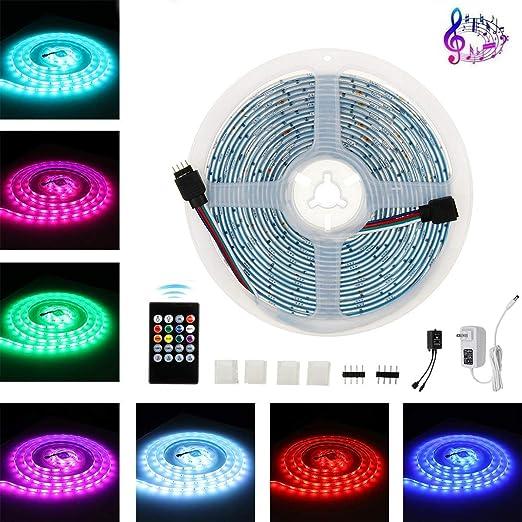 Tiras de LED, 5M 12V DC 5050 regulable Música control remoto del televisor Control Strip RGB LED de luz de iluminación de fondo + 20Keys for la decoración casera cadena de Luz:
