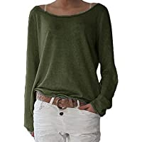 3dc03ae65ed815 ZANZEA Women s Sexy Casual Autumn Loose Round Neck Long Sleeve Tops Blouse  Jumper T-Shirt