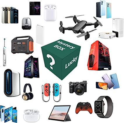 Mystery Box Electronic Surprise Box Random Electronic Product Mystery Box for Bluetooth Headphones/Tablets/Cameras/Mobile Phones/Smartwatches, Shopping 2 Pieces Included Drones