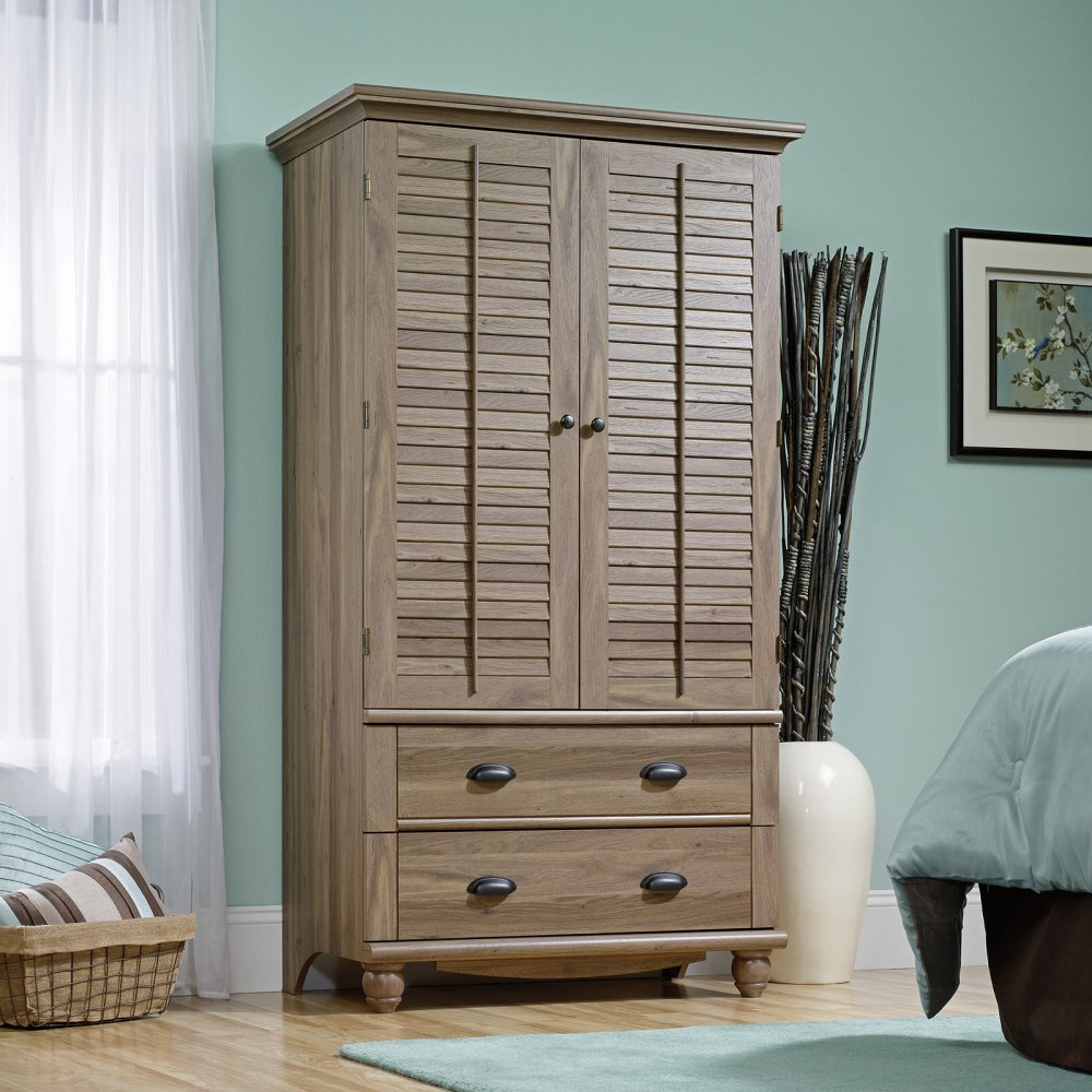 Amazon.com: Sauder 415003 Salt Oak Finish Harbor View Armoire: Kitchen U0026  Dining