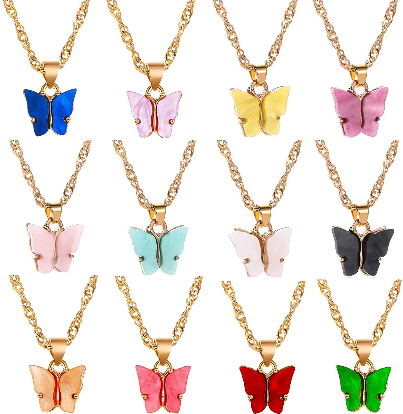 Gold Dipped Butterfly Necklace And Earring Set