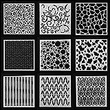 Layering Stencils DIY Craft Geometric Patterns Walls Painting Scrapbooking 9pcs for Stamp Album Decor