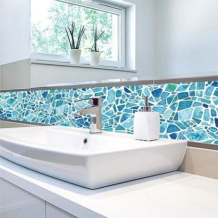 Amazon Com 5 Pc Kitchen Mosaic Tile Stickers Blue Bathroom
