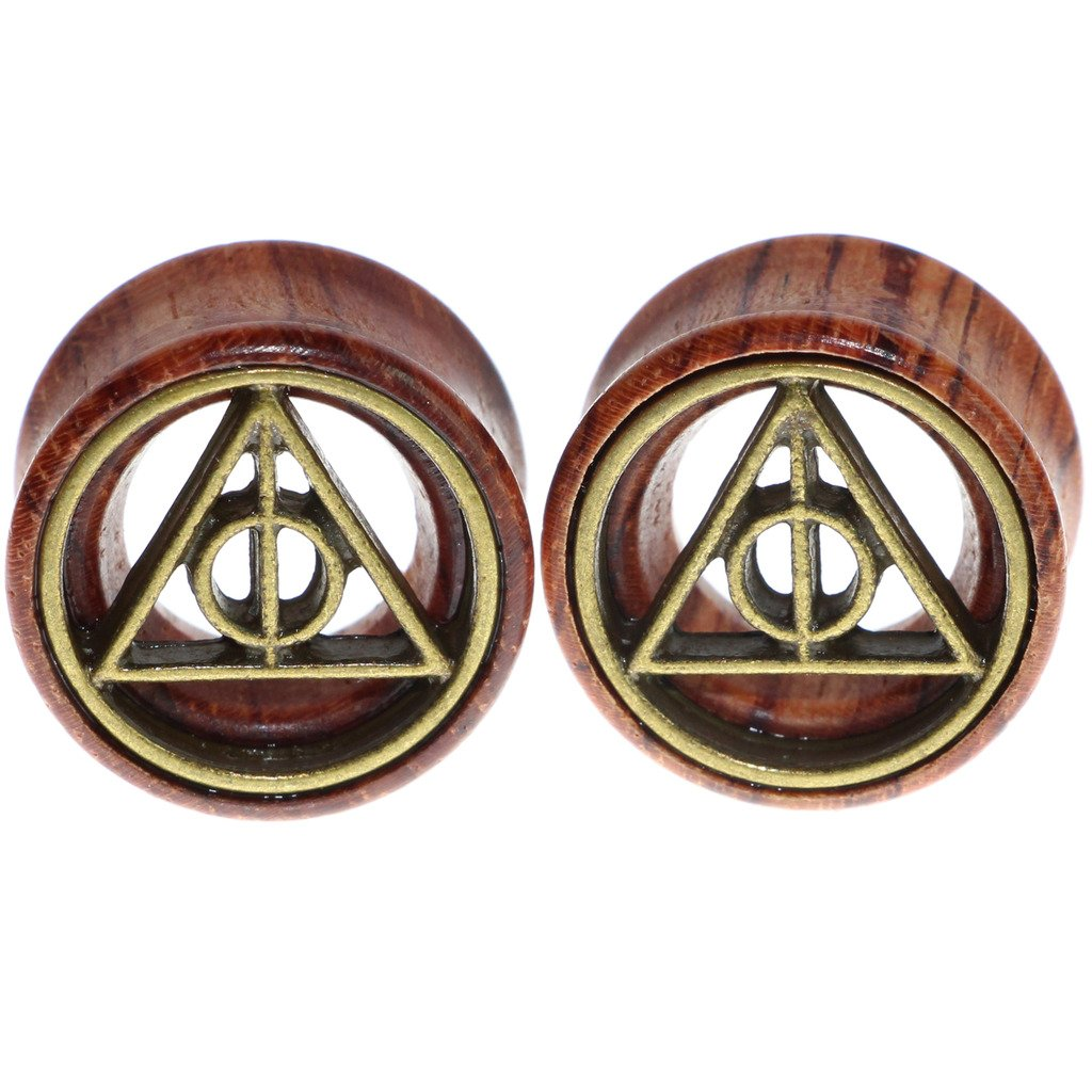 Deathly Hallows Organic Wood Flesh Tunnels Double Flared Ear Stretcher Saddle Plugs Gauge 8mm 20mm