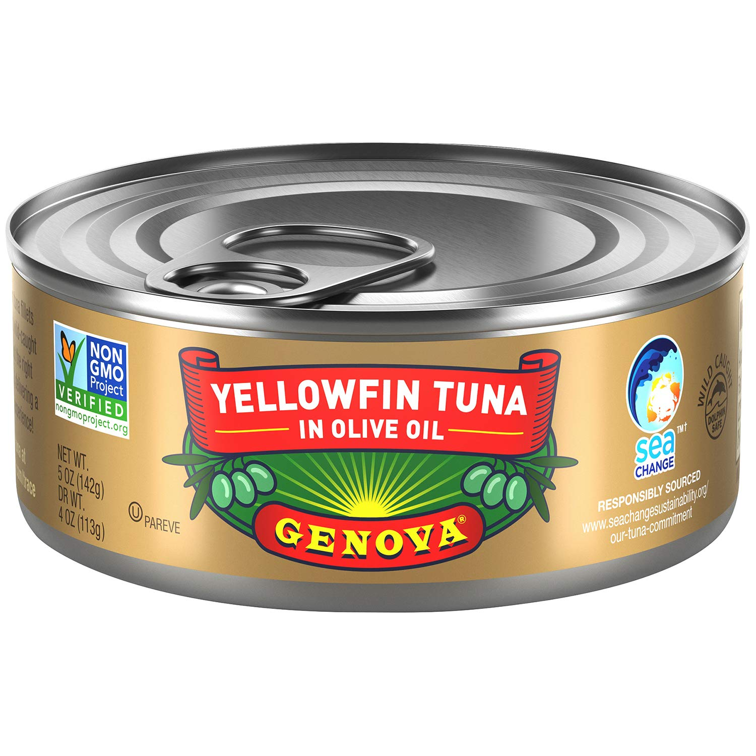 Genova Premium Yellowfin Tuna in Olive Oil, Wild Caught, Solid Light, 5 oz. Can (Pack of 24)