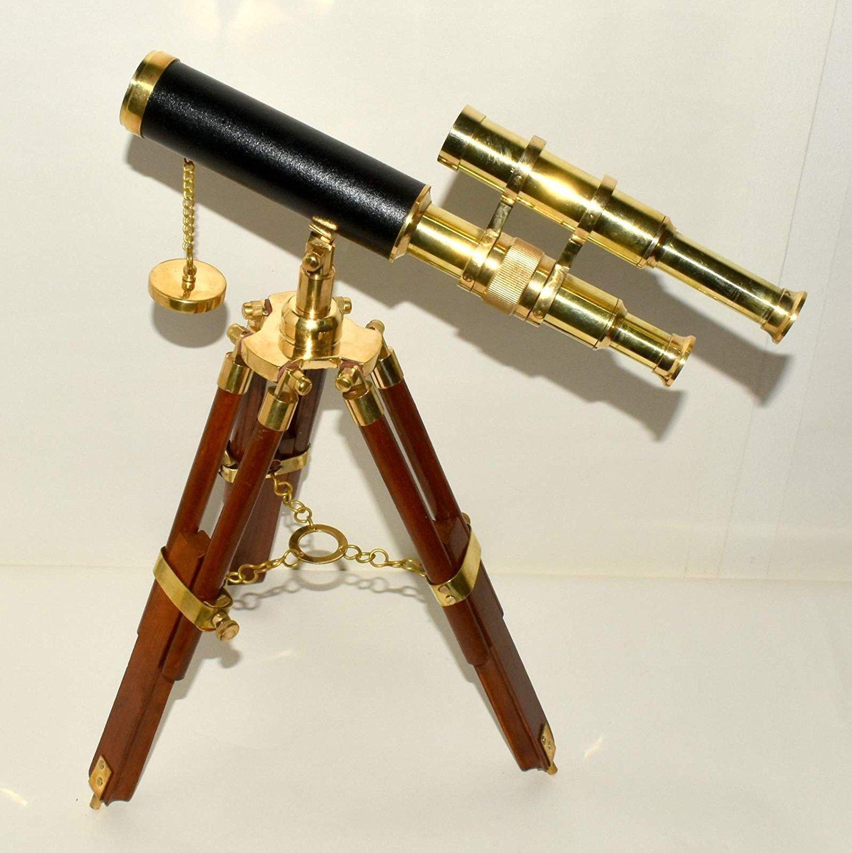Nautical 447jl B07NC5BVW9 真鍮製望遠鏡 真鍮製望遠鏡 ダブルバレル ソリッドブラス Nautical 木製三脚スタンド ネイビー B07NC5BVW9, ベストデリカ:1ade311e --- 2017.goldenesbrett.net