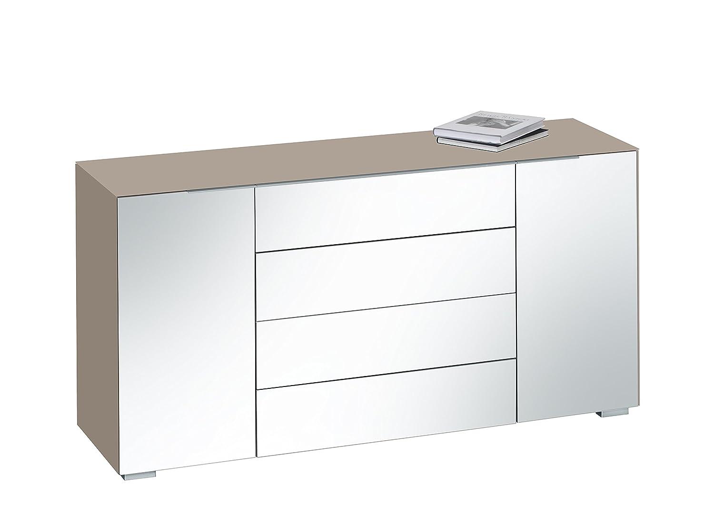 MAJA Möbel 7216 2301 Kommode, glas sand matt / grauspiegel, Abmessungen 159 x 79,40 x 46,20 cm