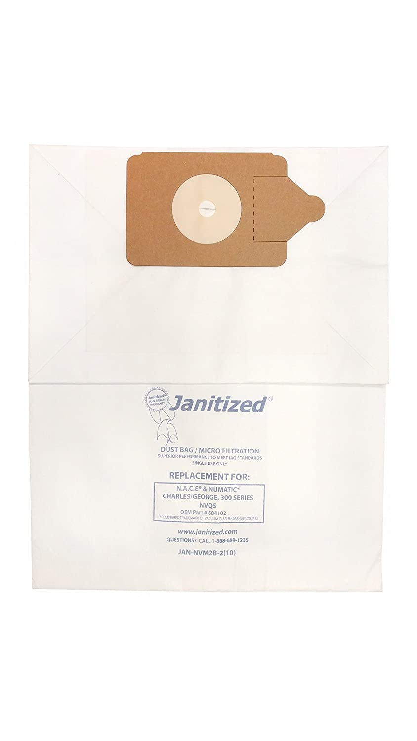 Janitized JAN-NVM2B-2(10) Premium Replacement Commercial Vacuum Paper Bag for Nacecare and Numatic Charles/George, 300 Series, NVQS Vacuum Cleaners, OEM#604102 (Pack of 10)