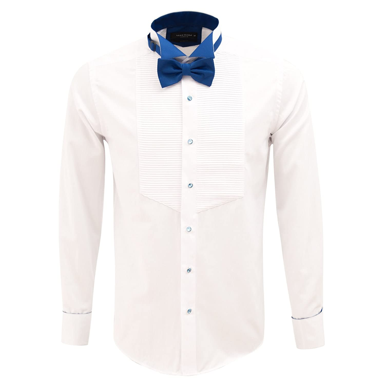 Oscar Banks Pleated Wing Collar Slim Fit Evening Dress Shirt At