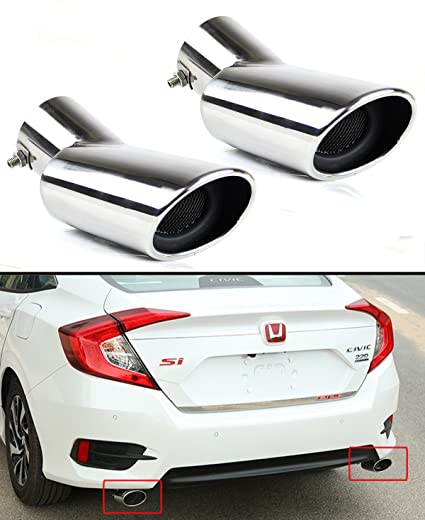 FOR 2016-2018 HONDA CIVIC STAINLESS POLISHED MUFFLER EXHAUST TIP FINISHER X 2