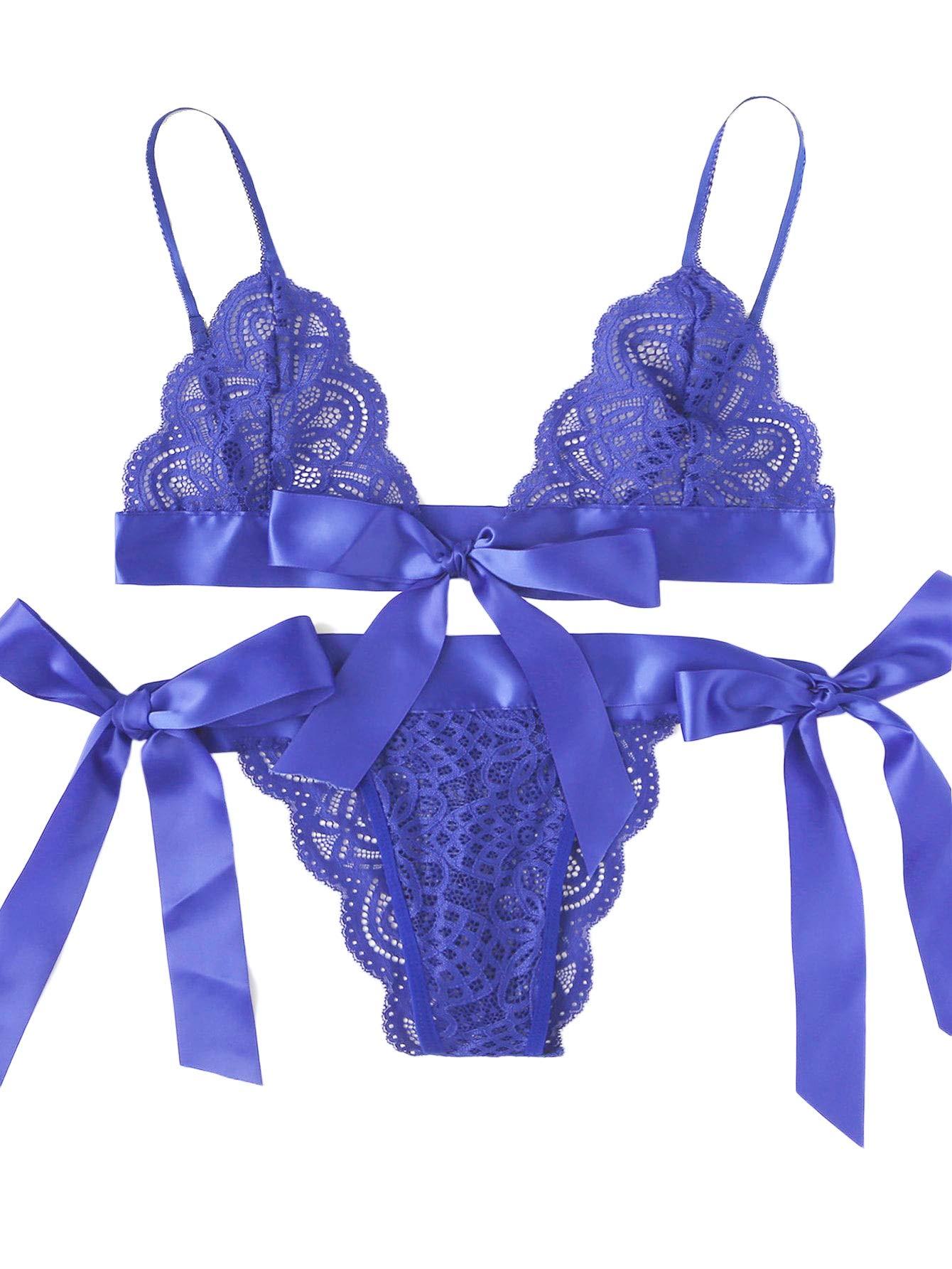 b7a5dd97fd4 Galleon - SweatyRocks Women s 2 Piece Sexy Lace Strap Bralette Bra And Panty  Lingerie Set Dark Blue S