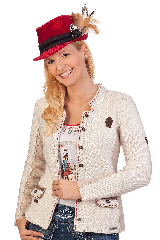 Damen Trachten Strickjanker - WIDORA - wollweiß, rot