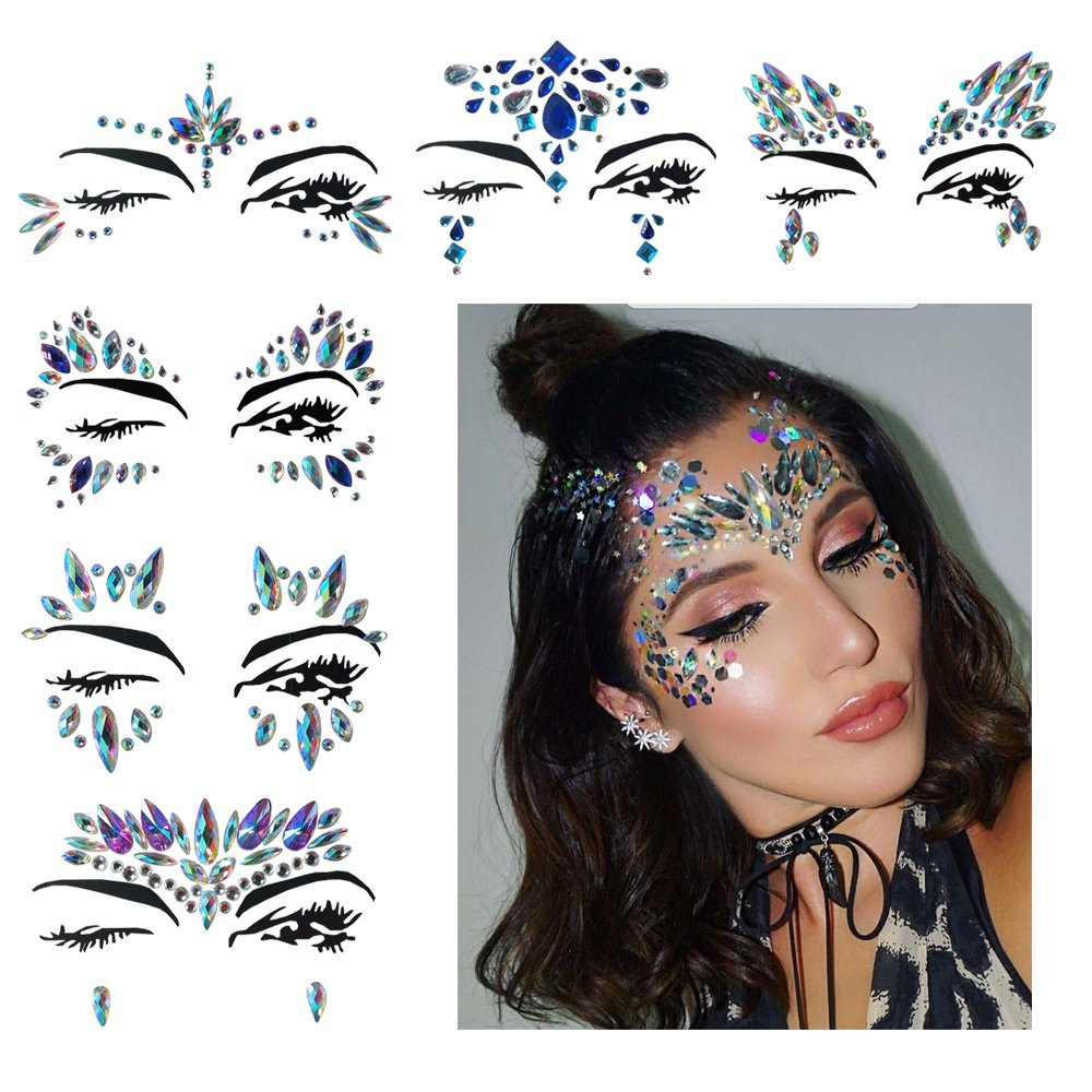 Fanme Face Gem Stickers Eyes Rhinestone Jewels Tattoo Mermaid Glitter Bindi Acrylic Crystal Body Jewelry Temporary Tattoo Fancy Makeup for Music Rave Festival Party Carnival 6 Pack (Pattern 1)