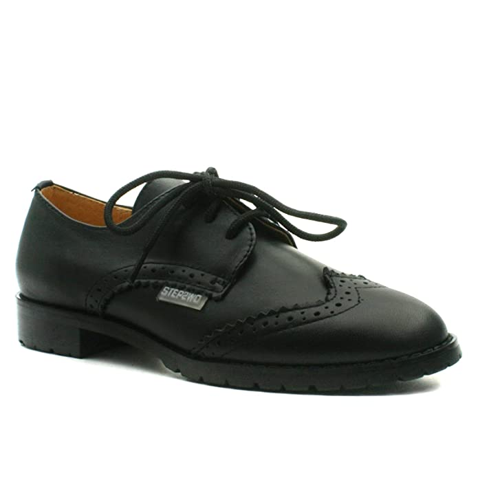 STINGFORD Step2wo School Shoe Laceup for Girls in Black Lea Leather Tamaño 31 KmwMyP42