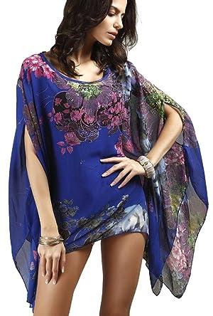 QZUnique Women's Plus-size Floral Flower Printed Chiffon Casual Poncho Tunics Blouse Brilliant Blue