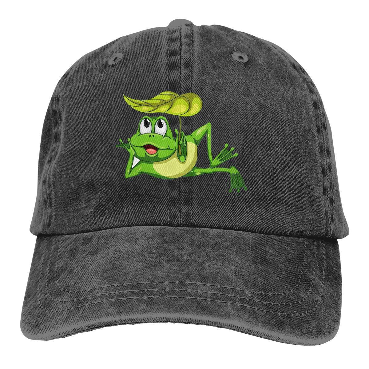 Qbeir Adult Unisex Cowboy Cap Adjustable Hat Summer Cartoon Frog Cotton Denim
