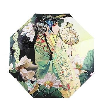 Paraguas plegable- Chino Pekin Opera chica tres Paraguas plegable de 8 nervaduras bastidor resistente al