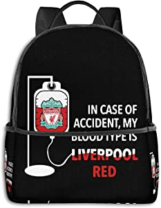 Backpack in Case of Accident My Blood Type is Liverpool Red Laptop Backpack Fashion Theme School Backpack