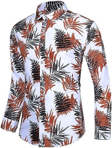 Sylar Camisas De Hombre Manga Larga Camisa La Moda Clásico Retro Colorear Corte Ajustado Camisa Hombre Slim Fit Camisa Casual con Estampado Hojas Camiseta para Hombre Tops De Blusa para Hombre: Amazon.es: