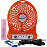 Innobay 4-inch Mini Hand Held Portable USB Fan Powered by Premium 2600mAh 18650 Lithium Rechargeable Battery, 4 Blades, 3 Speeds Wind, Powerful Air Flow (F95B Orange)