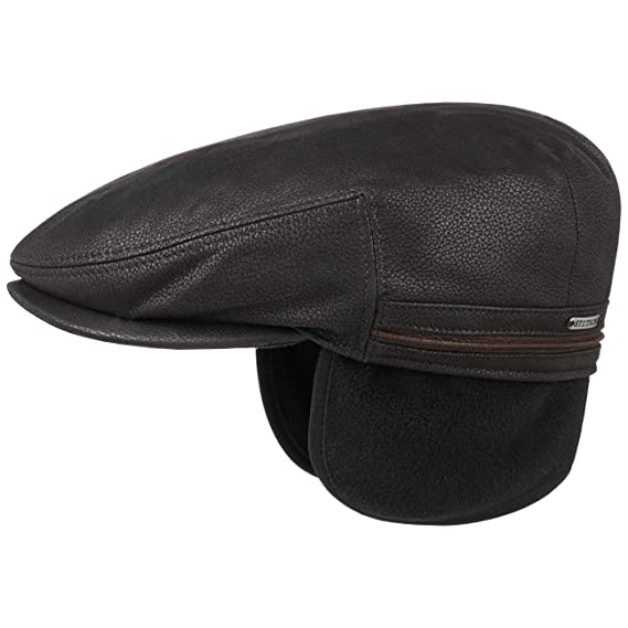 f23f65bb4fd2b1 Stetson Kent Earflaps Leather Flat Cap Men | hat Ear Flaps with Peak,  Flaps, Lining Autumn-Winter: Amazon.co.uk: Clothing