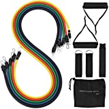 Mpow Resistance Bands, 5 Exercise Stretch Tubes for Workout Fitness & Gym Strengthening, Rehabilitative Exercises Bands Set with Door Anchor, Legs Straps, Portable Carrying Pouch for Indoor & Outdoor