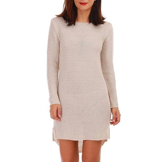le moins cher profitez de la livraison gratuite images détaillées La Modeuse - Robe pull beige, coupe droite: Amazon.fr ...